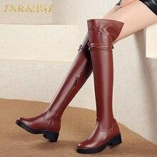 70bbab63e5dc2 SARAIRIS yeni Artı Boyutu 34-43 en kaliteli dropship kadın Ayakkabı Kadın  Botları Moda kış diz çizmeler üzerinde kadın ayakkabı