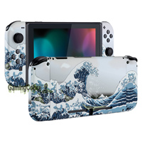 The Great Wave Soft Touch Grip Console Back Plate, Controller Housing Shell with Full Set Buttons for Nintendo Switch
