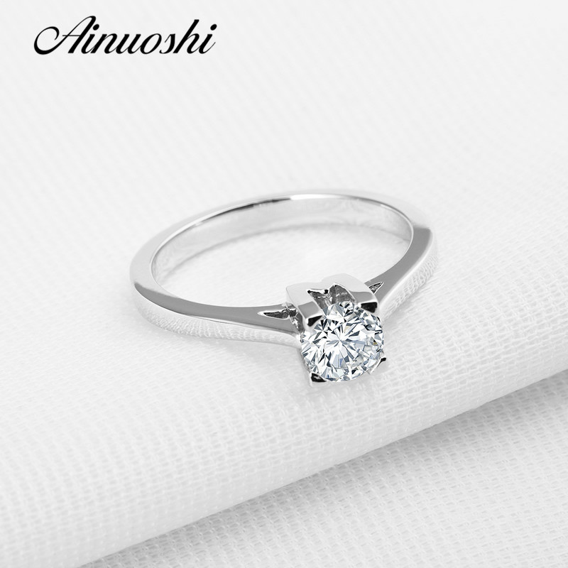 Engagement-Rings Wedding-Jewelry Classic Round 925-Sterling-Silver Women for 4-Prongs