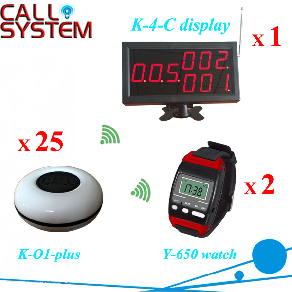 One full set 1 number screen 2 watch pager 25 buzzers Restaurant guest calling bell services with CE