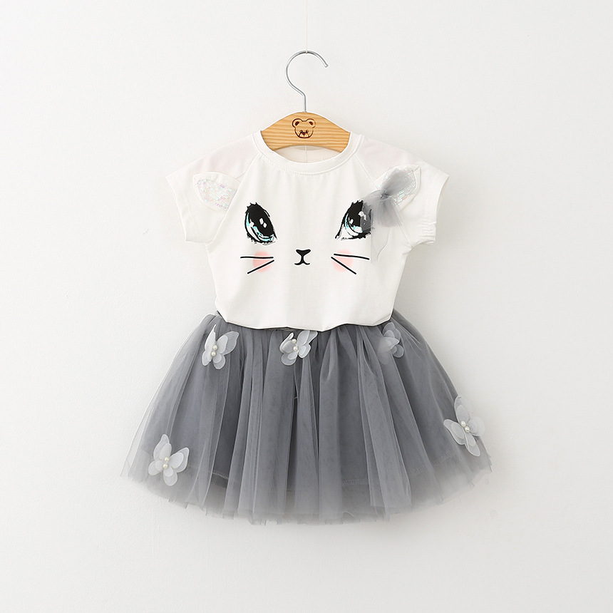 Summer Girls Clothing Sets New Casual Cotton Short Sleeve T-shirt+Butterfly Skirts Children Clothing Kids Girl Clothes 2pcs Set little j new fashion kids girl clothes set summer short sleeve love t shirt tops leather skirt 2pcs outfit children suit