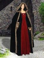 Средневековый стиль мехом faux suede dress с капюшоном костюм ручной работы ренессанс платье