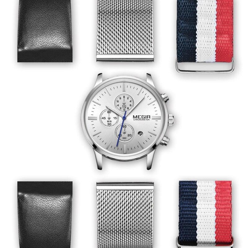 MEGIR Chronographe Sport Montre Hommes avec 2 Sangles Supplémentaires DIY Grand Cadran Quartz Hommes Montres Horloge Relogio Masculino Erkek Kol saati