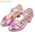 Brillo de lentejuelas Zapatos de La Princesa Niñas zapatos de Tacón Alto Bombas Rhinestone Niños Zapatos De Las Niñas Sandalias de Baile Fiesta de La Boda Con El Arco