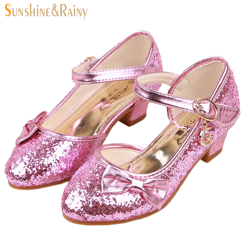 ФОТО Sequin Glitter Princess Shoes Girls High Heels Pumps Kids Rhinestone Wedding Party Dance Shoes For Girls Sandals With Bow