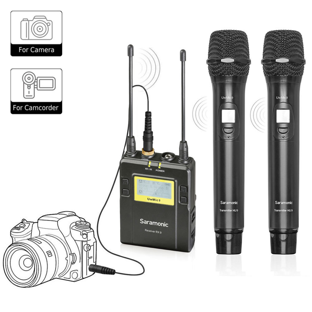 saramonic uwmic9 96 channel uhf wireless lavalier microphone system two handheld microphone and. Black Bedroom Furniture Sets. Home Design Ideas