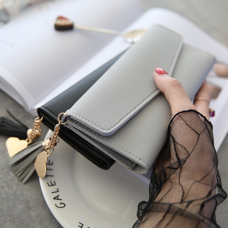 womens purse 2018 New Long Hand Hold Heart Pendant Simple Fashion Multi-Function Litchi Pattern Wallet