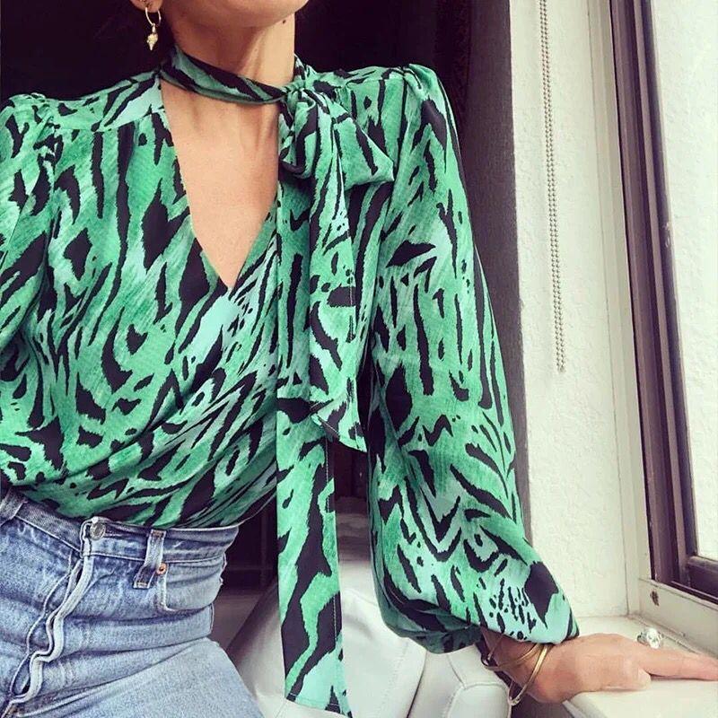 2019 New Women Green Zebra Print Silk Blouse Long Lantern Sleeve Ribbon Tie Neck Shirt Top