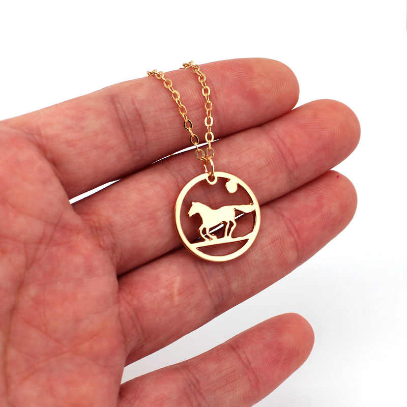 hzew round moon running horse pendant necklace horse necklaces