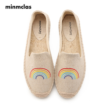 Minmclas Summer Alpargatas Rainbow Comfortable Slip-on Womens Espadrilles Breathable Flax Hemp Canvas for Girl Shoes