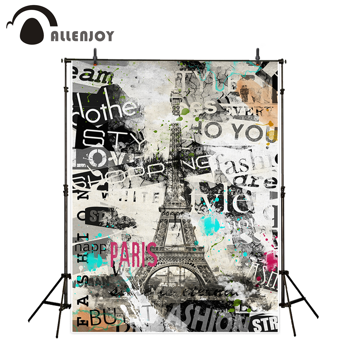 Allenjoy photography backdrop Paris vintage eiffel tower romantic eurpe graffiti background photobooth decor photocall
