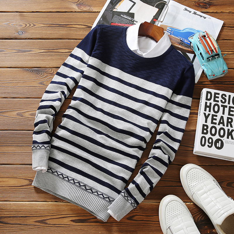2016 Autumn Striped Mens Sweater Brand Casual Male Black White Sweaters O Neck Slim Fit Knitting
