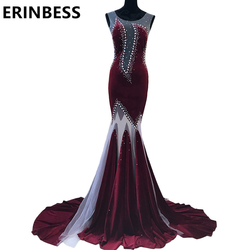 Vestido De Festa Dubai Burgundy   Evening     Dresses   Beaded Crystal Mermaid Velvet Prom Party Gowns 2019 Robe De Soiree
