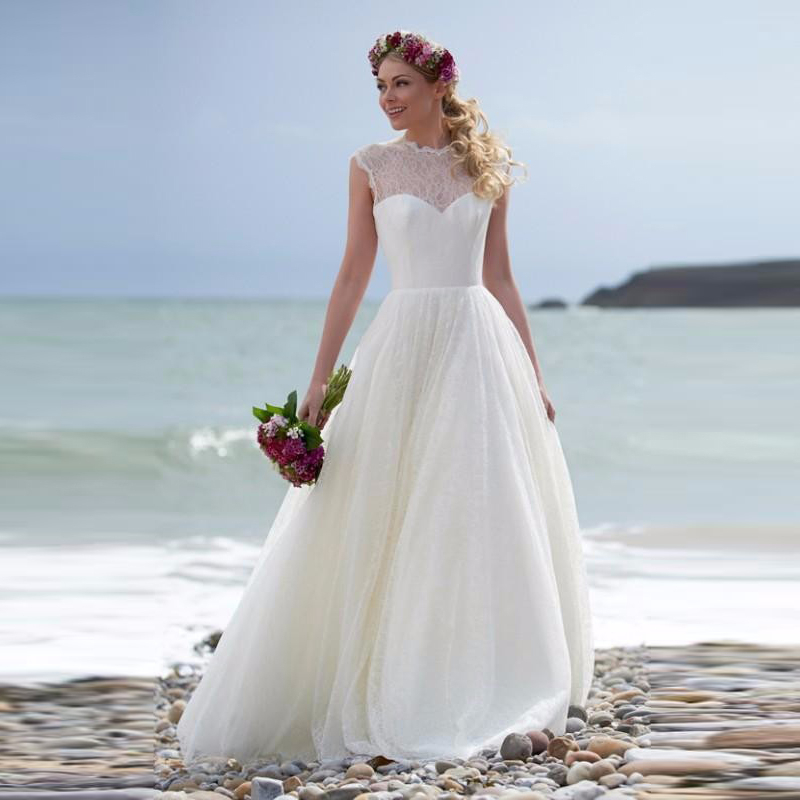 Trouwjurken 2016 Elegant Sample Beach Wedding Dresses A Line