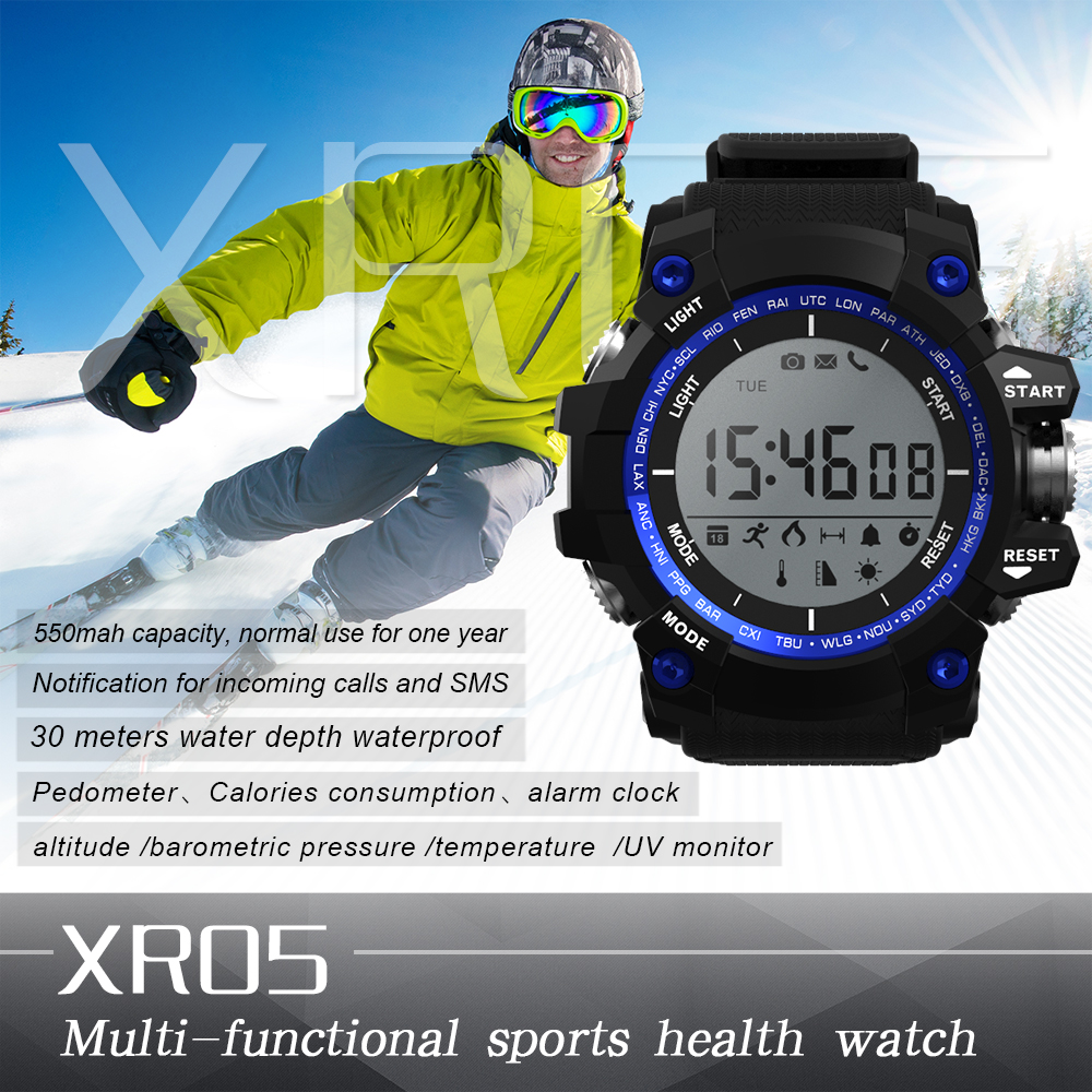 2017 Sport Round Smart watch XR05 IP68 Waterproof Long standby time 1 Year for Samsung Huawei