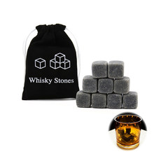 9PCS Granite Whiskey Stones Reusable Ice Cube Rocks Chillers Wine Cooler With Bag(China)