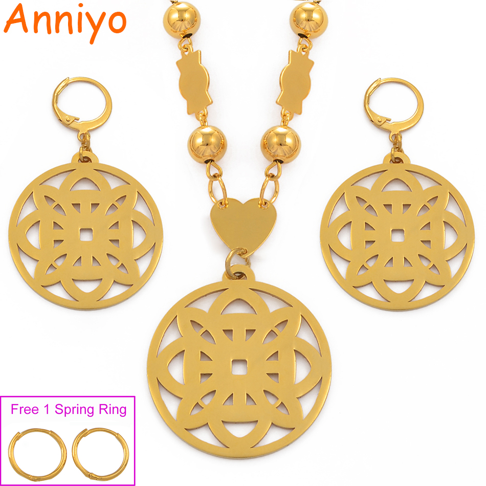 Anniyo Micronesia Pendant Earrings Beads Necklaces Jewelry sets for Women Gold Color Hawaii Marshall Pohnpei Gifts #078521Anniyo Micronesia Pendant Earrings Beads Necklaces Jewelry sets for Women Gold Color Hawaii Marshall Pohnpei Gifts #078521
