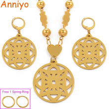 Anniyo Micronesia Pendant Earrings Beads Necklaces Jewelry sets for Women Gold Color Hawaii Marshall Pohnpei Gifts #078521 anniyo micronesia jewelry sets with stone pendant earrings round ball beads chain necklaces marshall jewellery guam 124506s