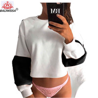 BALIWEISA Fashion White Short Pullover Fleece Women Rabbit Plush Long Sleeve Splice Jacket Winter Autumn Casual