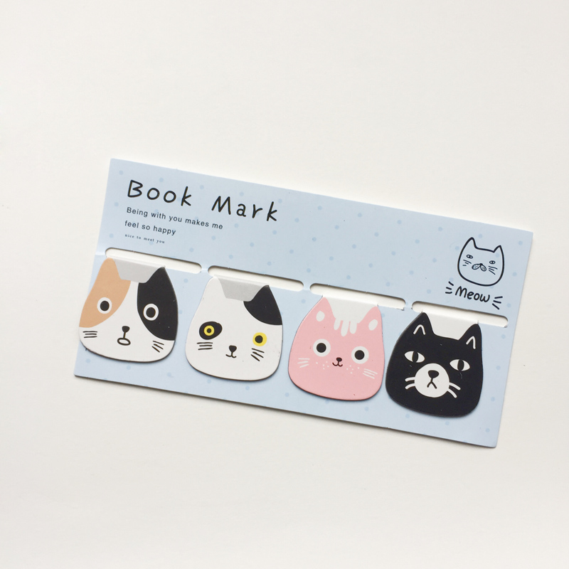 W26 4pcs /Pack Cute Cool Cat Magnet Bookmarks Paper Clip School Office Supply Stationery Marker of Page clever cat page 1