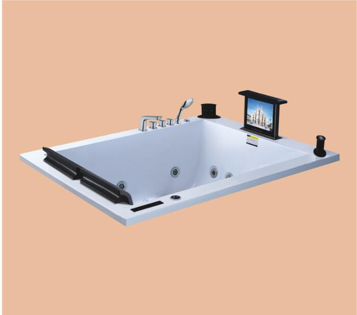 1900mm Drop-in Fiberglass whirlpool Bathtub Acrylic Hydromassage Embedded Surfing Tub With TV Set  NS6022