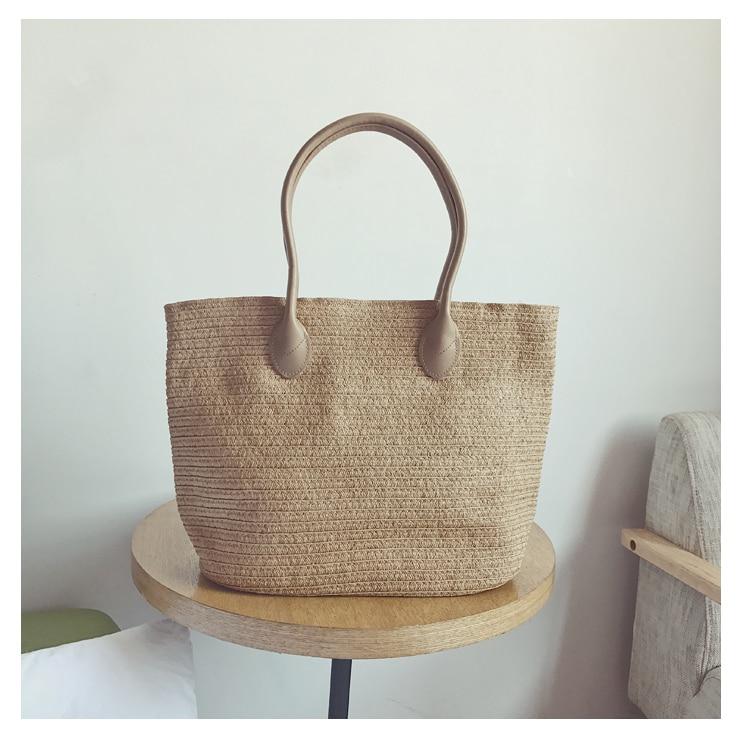 Été femmes Durable armure paille plage sac féminin tissé décontracté fourre-tout sacs à main à tricoter sacs en rotin FQX