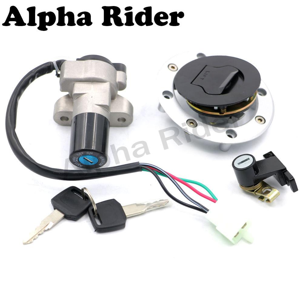 Motorcycle Ignition Switch Fuel Gas Tank Cap Cover Seat Lock Key Set Kit for Suzuki GSF