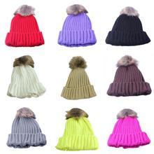 Nuevas mujeres invierno lana sombrero conejo Pieles de animales bola Beanie  sombrero hecho punto casquillo caliente 872943921254