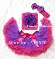 Фиолетовый ярко-розовый Детская юбка-американка, фиолетовый пион ярко-розовый вязаный Топ, ярко-розовый ободок фиолетовый Бантик 3 шт набор ...