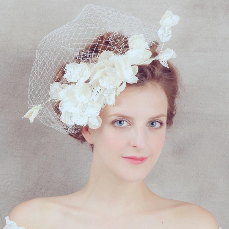 Newest Elegant Floral Wedding Hats 2017 Pearls Bridal Hair Accessories Flowers Applique Tulle Linen chapeau mariage for Brides
