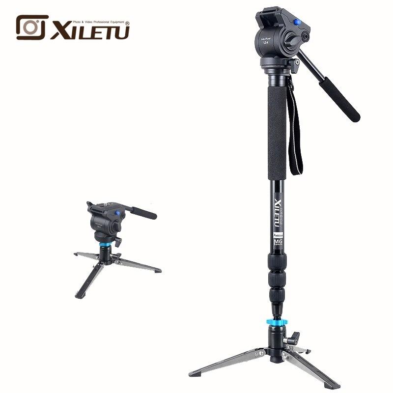 Xiletu MV284A LS4 Alumínio Monopé & Quadro de Apoio Hidráulico Cabeça Estabilizador de Câmera Para Canon Eos DSLR Nikon Câmera