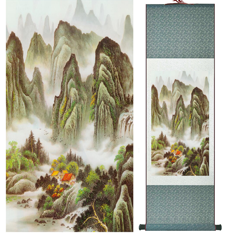 landscape painting Home Office Decoration Chinese scroll painting mountain and River paintingPrinted painting042211