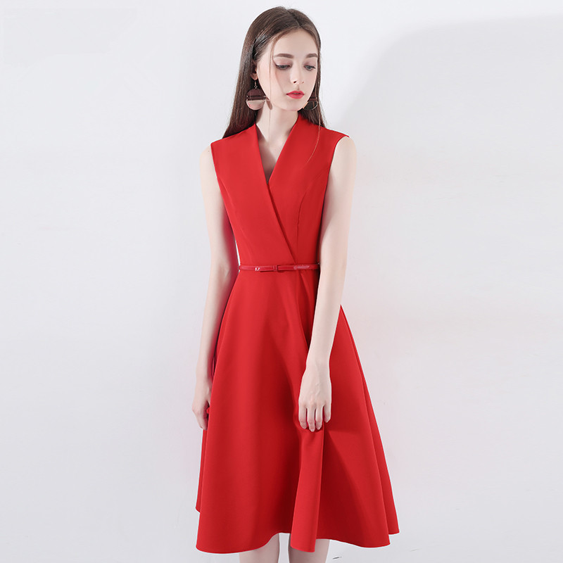 2018 Wedding New Red Long Knee length A line Sleeveless Engagement Dress