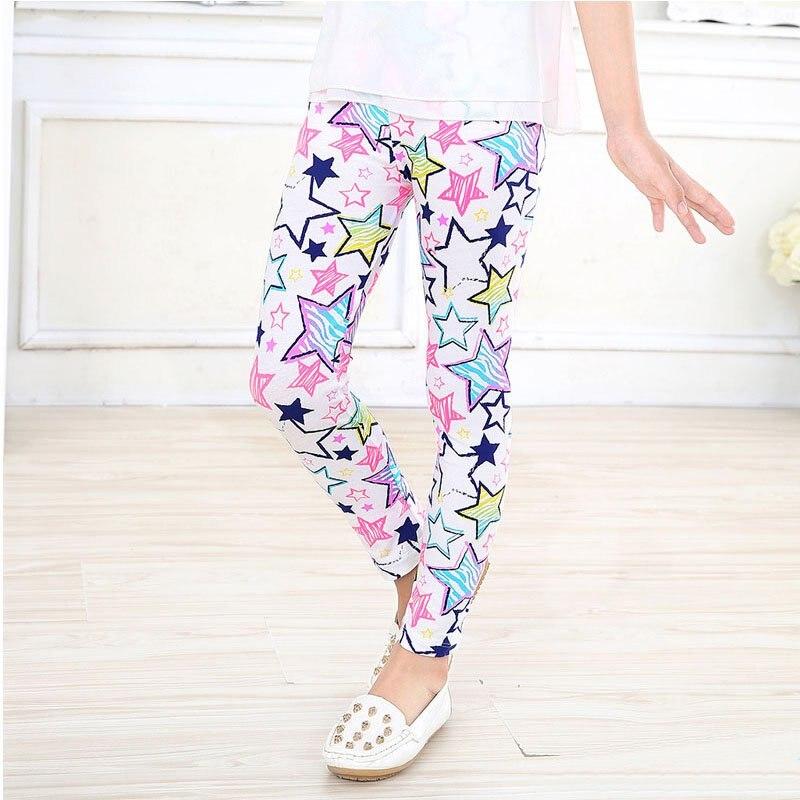 Girl Leggings Pants Printed Stretch Trousers Girls Spring /Autumn Kids Girls Leggings 2-14Y 6 Color Girls Pants baby kids girls leggings pants flower floral printed elastic long trousers 2 14y