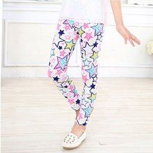 Girl Leggings Pants Printed Stretch Trousers Girls Spring /Autumn Kids 2-14Y 6 Color