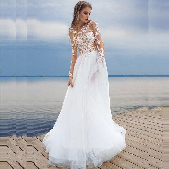 b66f41c2b6 2017 Plaża Biały Suknie Ślubne Z Długim Rękawem Suknie Bride Lace  Przezroczysty Tiul Suknia Dla Nowożeńców