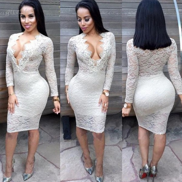 099e14cb837eb Femmes Sexy Col V Profond À Manches Longues Robe Floral Taille Haute Club  Party Dentelle Slim Robe Crayon