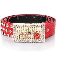New Fashion Miss Design Leather Belt For Women Rhinestone Buckle Belts Women Jean Strap Gold Sliver