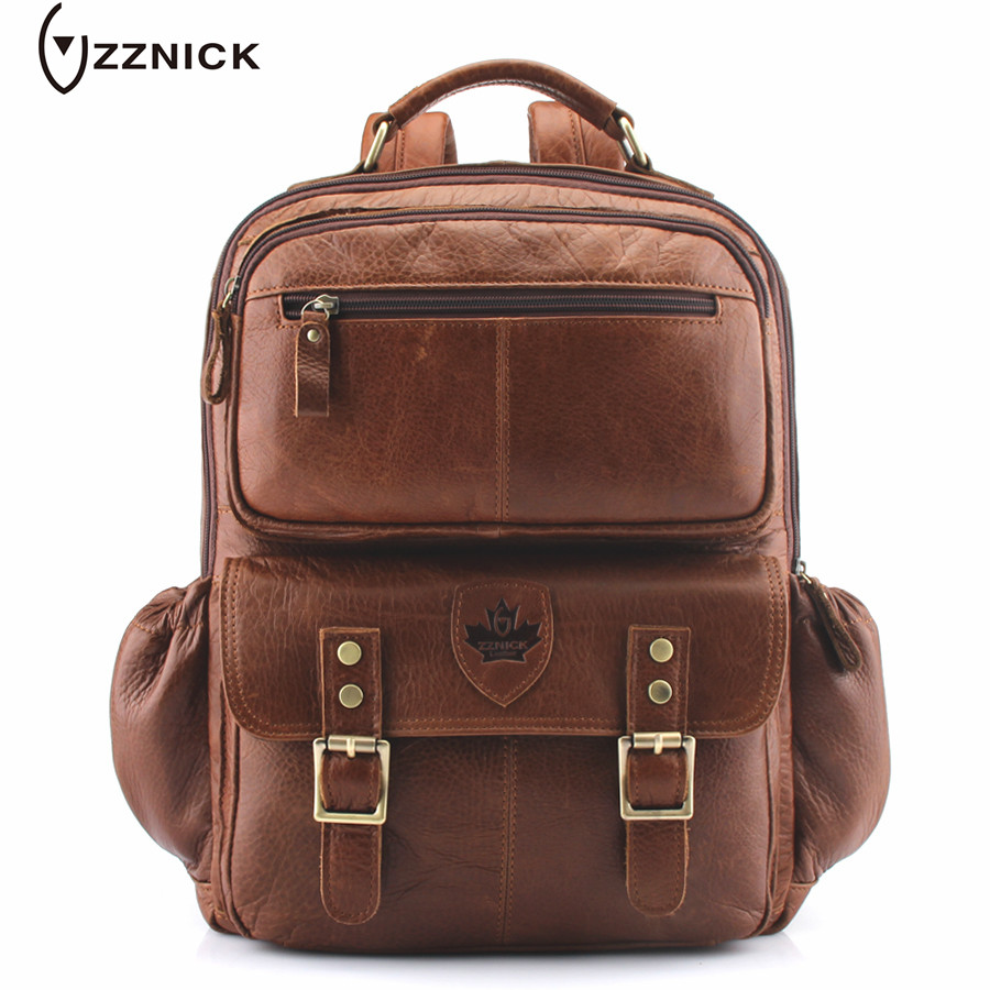 ZZNICK 2018 New Men Backpacks Genuine Leather Men's Travel Bag Fashion Man Laptop Bag Backpack School Mens Leather Business Bag zznick 2018 new genuine cowhide leather backpack men school bags bagpack men s travel bags male backpacks laptop bag pack 3906 1