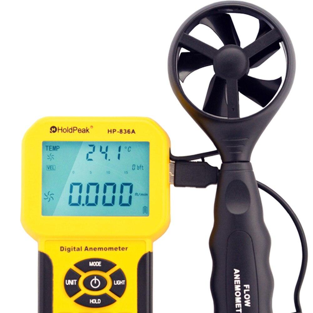 HoldPeak HP-836A compteur de Volume d'air à vitesse de vent numérique anémomètre portable avec enregistreur de données et étui de transport - 2