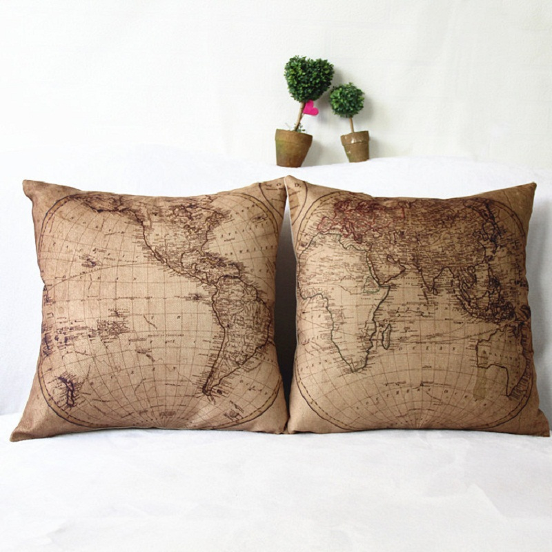 2017 18 inches Vintage Style Cushion Cover world map