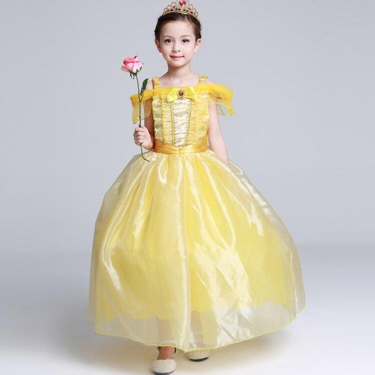 New Girls Princess Belle Dress Up Costume Kids Sleeveless Yellow