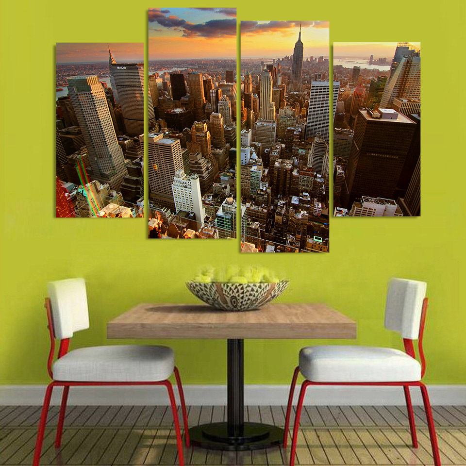 Print Canvas Painting new york skyscrapers rooftops sunset Wall Art ...