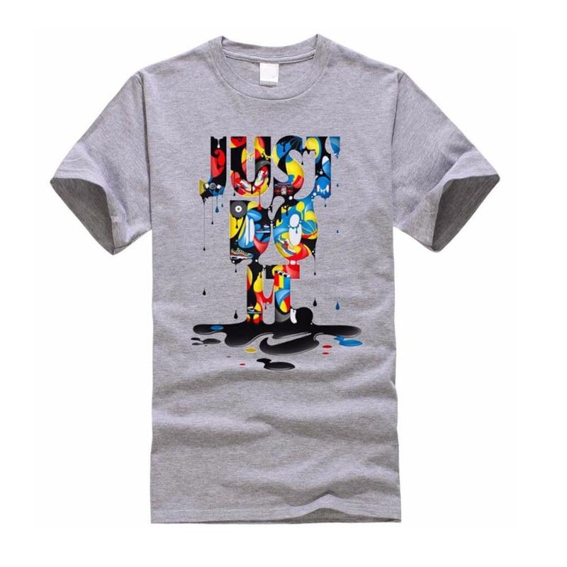 Coceddb новый бренд Just Do It футболка мужской 2018 Новая Мода Письмо печати Мода Круглый воротник футболка мужская с коротким рукавом футболка
