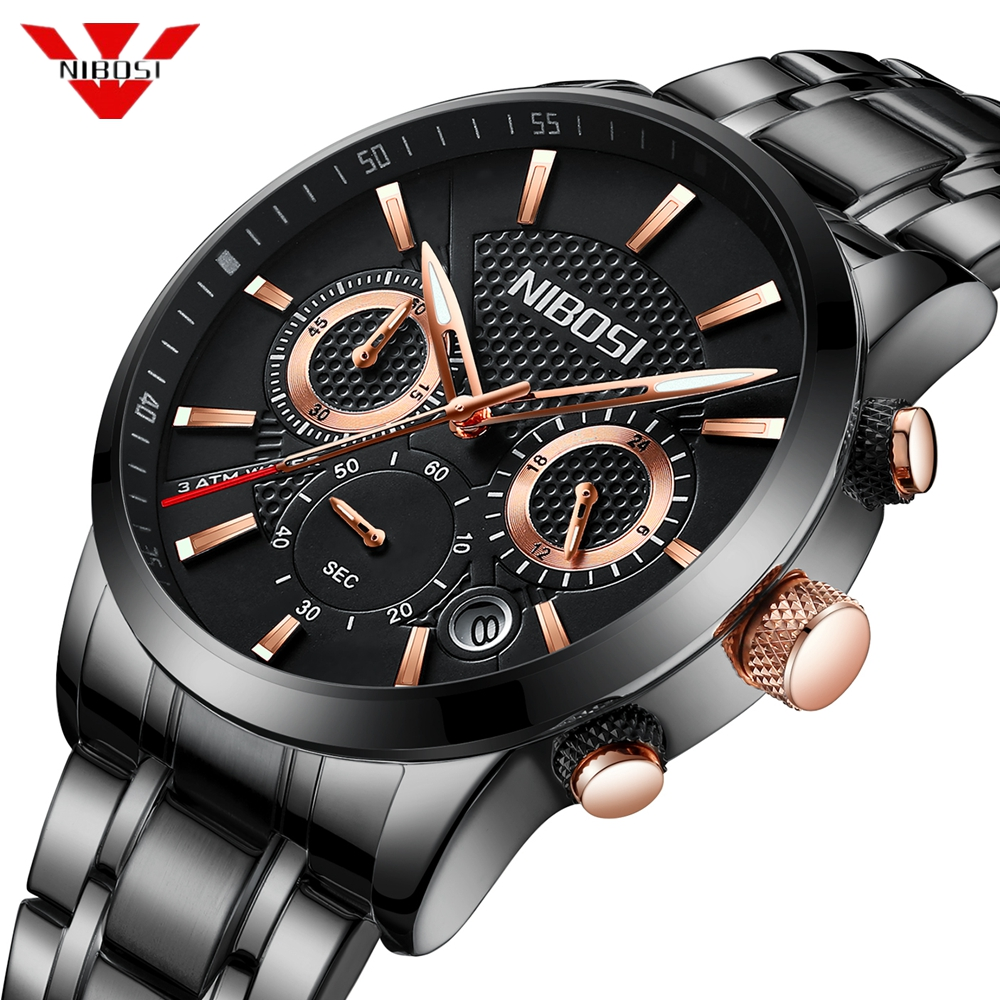 NIBOSI 2018 Fashion Watch Men Sport Quartz Clock Mens Watches Top Brand Luxury Steel Business Waterproof