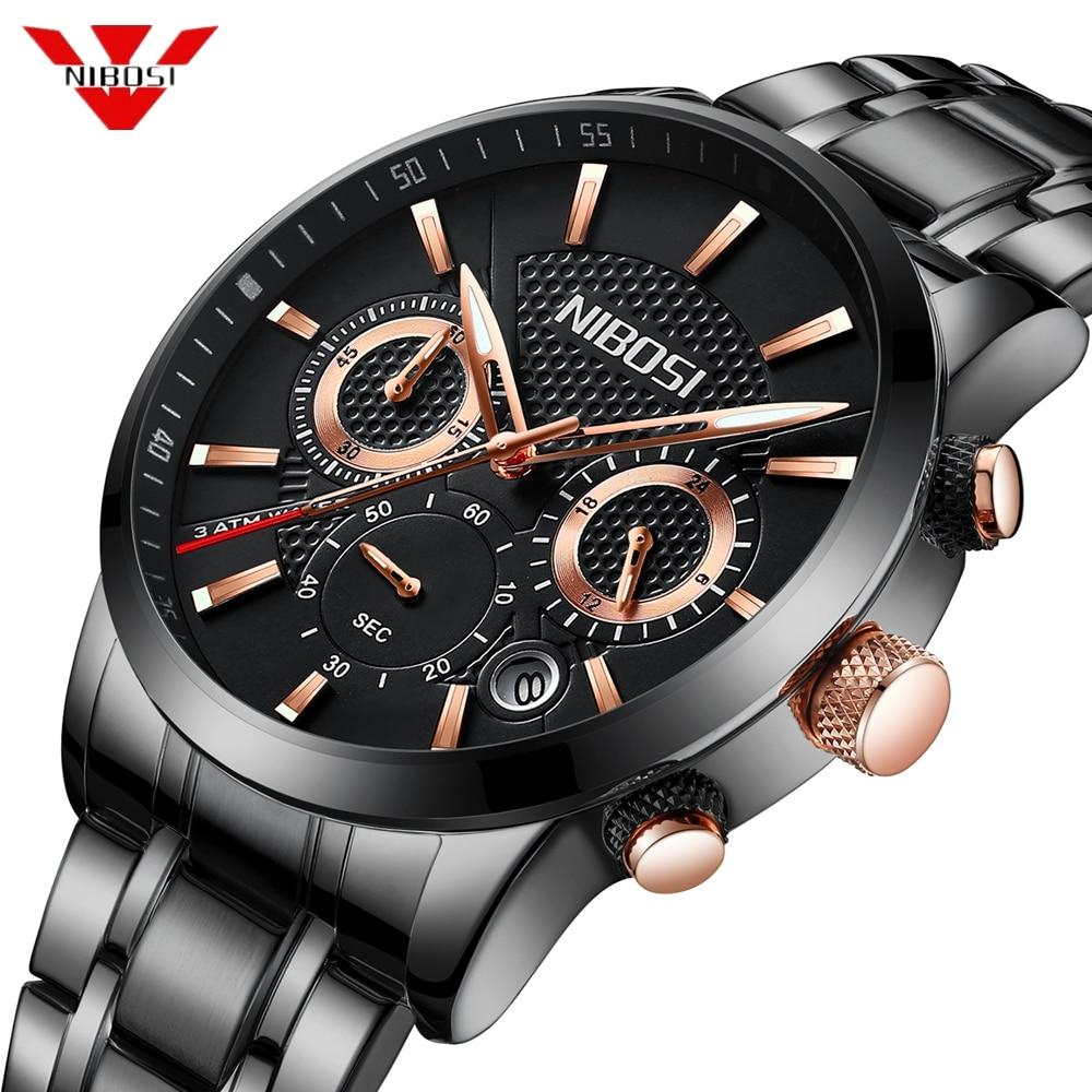 reloj hombre Nibosi 2018 moda reloj hombres deporte reloj de cuarzo relojes para hombre Top marca de lujo de acero impermeable de negocios reloj