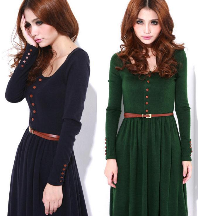 Vintage Long Sleeve Dress Knitted Winter Casual Women Dress 2019 Green Black Warm Sexy Dresses With a Belt Midi Dress