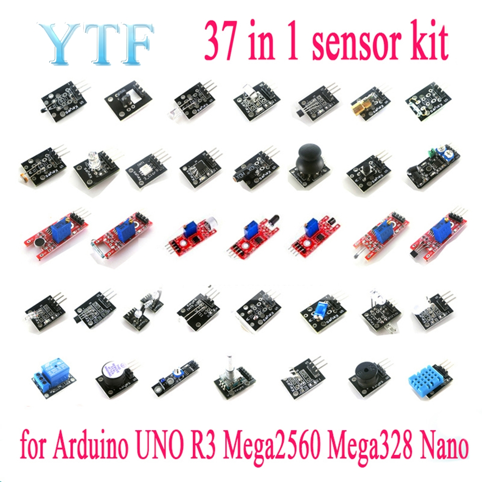37pcs/lot Raspberry Pi 2 3 The Sensor Module Package 37 Kinds Of Sensor For Arduino Kit Free Shipping