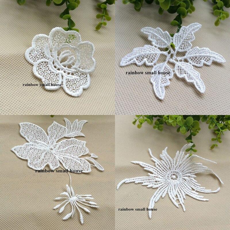 20pcs/lot White flower Embroidery Lace patch motif applique trim headband hair bow garment clothing DIY accessory -ZC