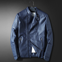 LEDINGSEN Mens Blue Motorcycle Leather jacket Men Slim Fit Red Casual Jacket Coat Autumn Winter Leather Clothing Windbreaker